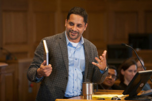 "In this 2012 file photo, Eduardo Peñalver speaks at a celebration at Cornell Law School for the publication of his and Gregory Alexander's book ""An Introduction to Property Theory."""