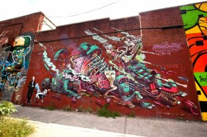 Work by Nychos and Smithe, 414 Troutman Street, between Wyckoff and St. Nicholas Avenues