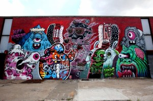 Work by Buff Monster, The Yok, Sheryo, Tristan Eaton, Nychos and L'Amour Supreme, 444 Jefferson Street, at Wyckoff Avenue